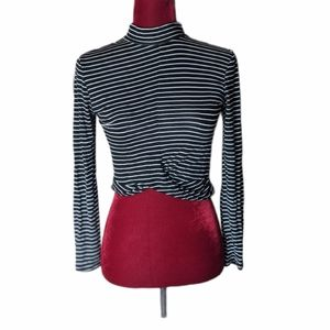 Ambiance Black and White Striped Crop Top